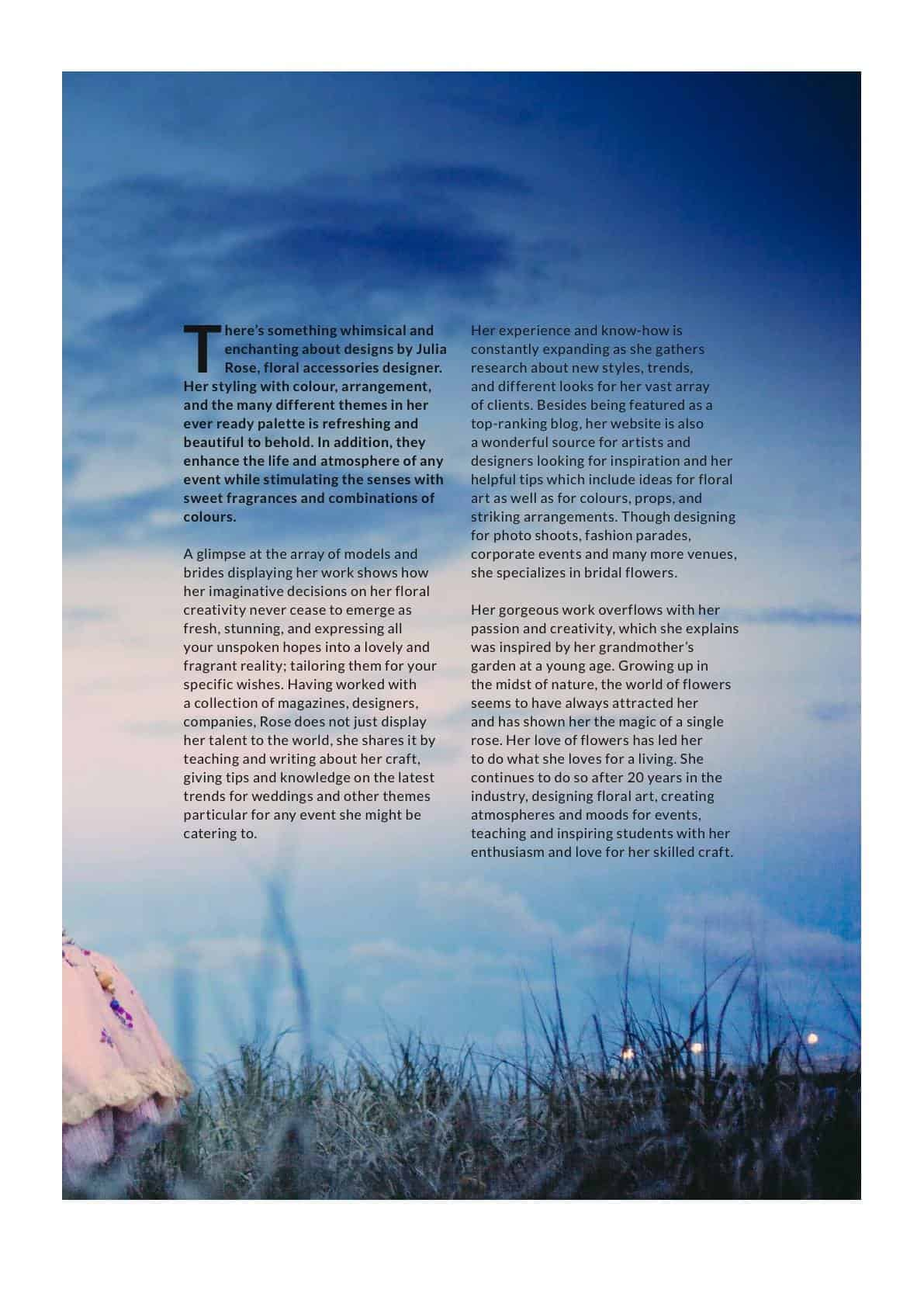 Envie Magazine - worlwide print - Wedding Flowers by Julia rose