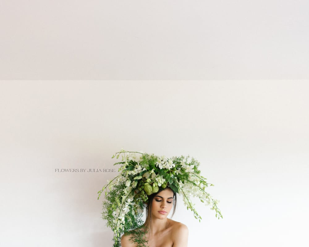 green and white headpiece fashion - flowers by julia rose - invoke pure
