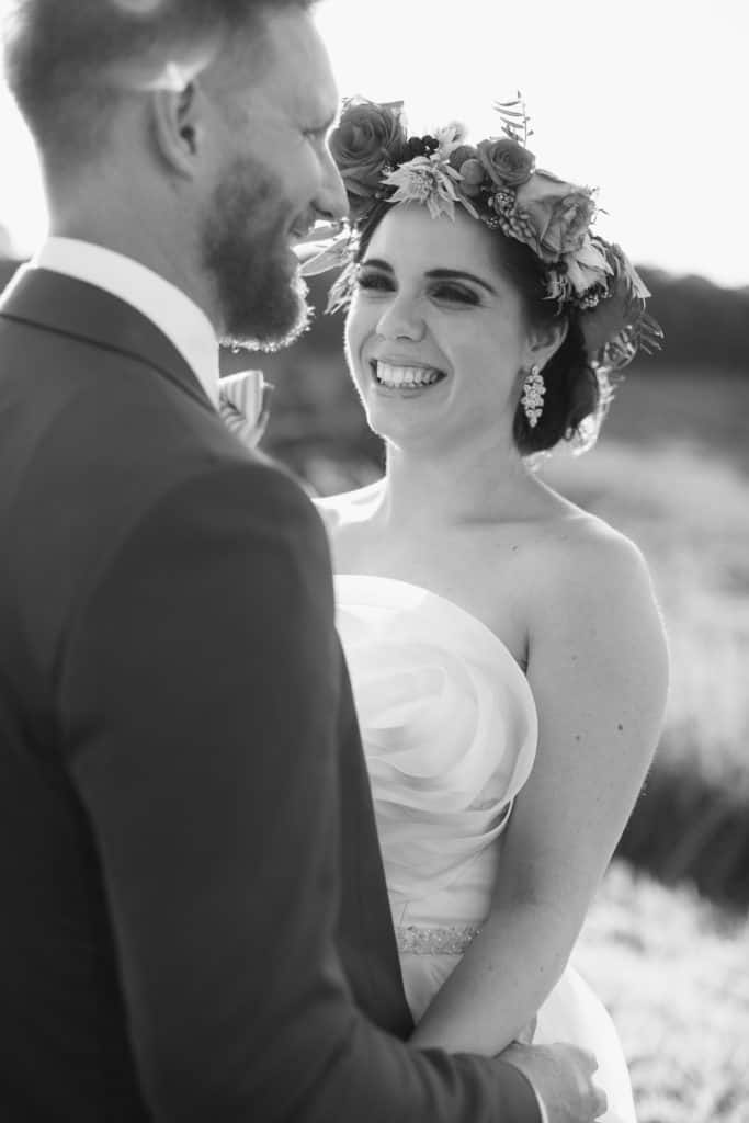 Flowers By Julia Rose - Harvest Newrybar Wedding - B&W Bride & Groom