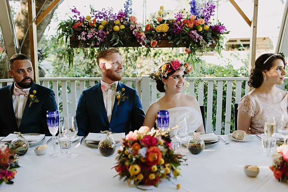 Flowers By Julia Rose - Harvest Newrybar Wedding -Bride & Groom table