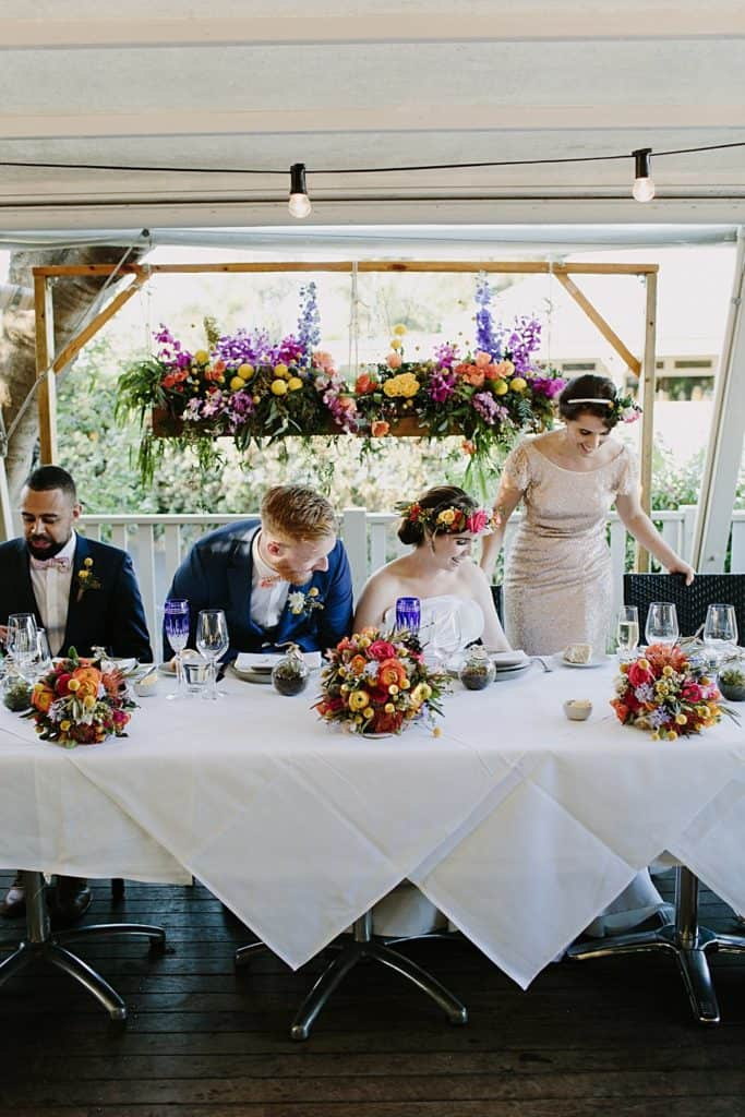 Flowers By Julia Rose - Harvest Newrybar Wedding -wedding party table