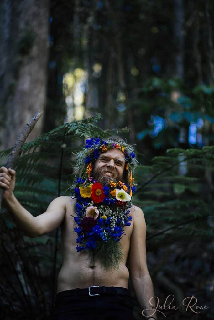 Tommy Franklin Flower Beard by Julia Rose in the hinterland of byron bay