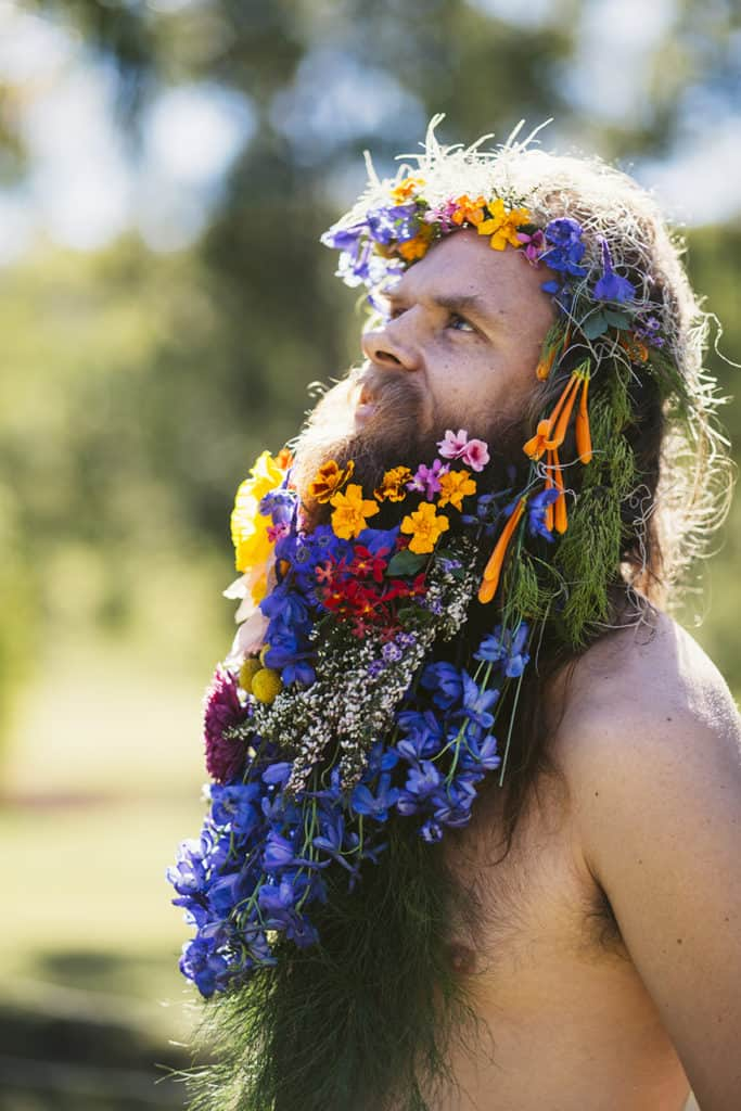 Tommy Franklin Flower Beard fun happy bright fashion natural sunlit boho