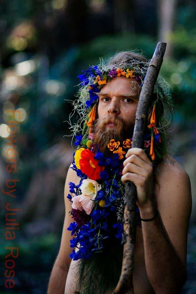 Tommy Franklin Flower Beard fun happy bright fashion wild man native inspire