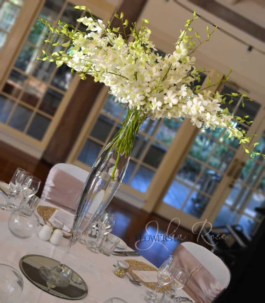 White Orchids In Tall Vase Wedding Reception Flowers By Julia Rose